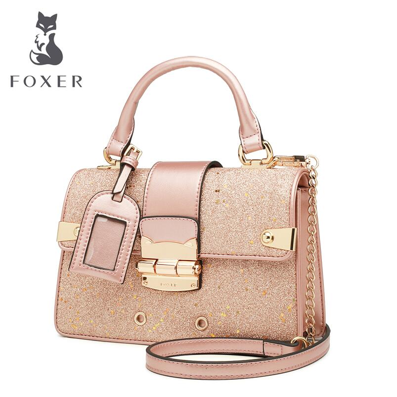 FOXER Female Handbag Messenger Small European Package Anti-Theft-Lock Chic Oblique American-Stars