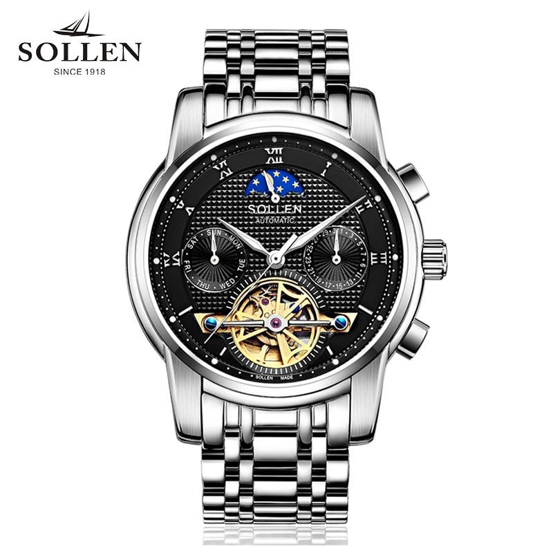 SOLLEN automatic mechanical watch men business hollow men's watches steel waterproof luminous multi-functional male wristwatches цена и фото
