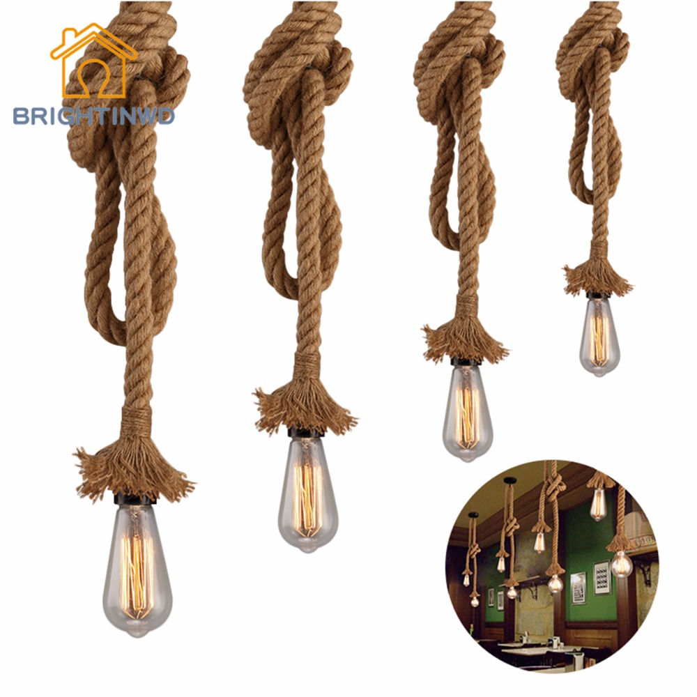 E27 Retro Vintage Rope Pendant Light Lamp Loft Creative Personality Industrial Lamp Edison Bulb American Style For Living Room retro vintage rope pendant light lamp