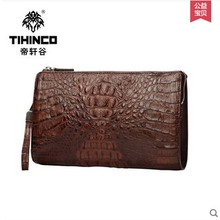 tihinco Luxury-goods male crocodile leather handbags men bag leather bag high-capacity hand bag mobile phone bag men clutches