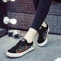 {D & H} Graffiti Imprimir Superestrella Estilo Con Cordones Zapatos Planos de la Mujer Zapatos de Lona Bajos Zapatos Casuales tenis feminin
