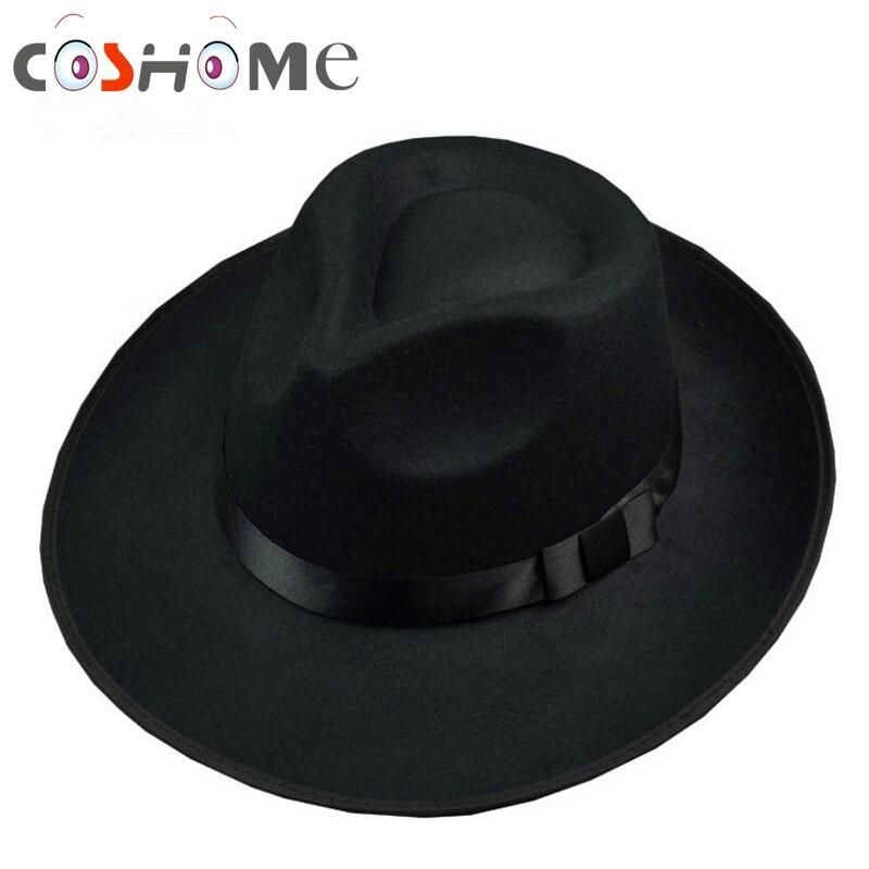 Cos Michael Jackson Hat Stage Show Cap Fedoras Concert Dance Fedoras Classic Solid Black Wide Brim Jazz Gentleman Hat