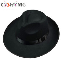 Cos Michael Jackson Hat Stage Show Cap Fedoras Concert Dance Fedoras Classic Solid Black Wide Brim Jazz Gentleman Hat(China)