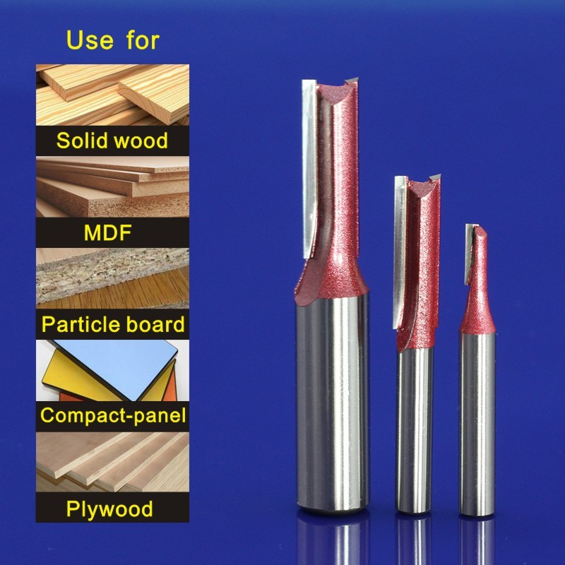 4pcs 1/4*1/2+1/4*5/16+1/4*3/8+1/4*1/2 MDF Woodworking Milling Engraving Machine Tool,Double Straight Flute Knife 1 4