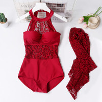 M XXL Swimsuits for female dress 2018 One piece red sexy Lace hollow out Swimsuit One piece Push Up Women plus Sizes Monokini