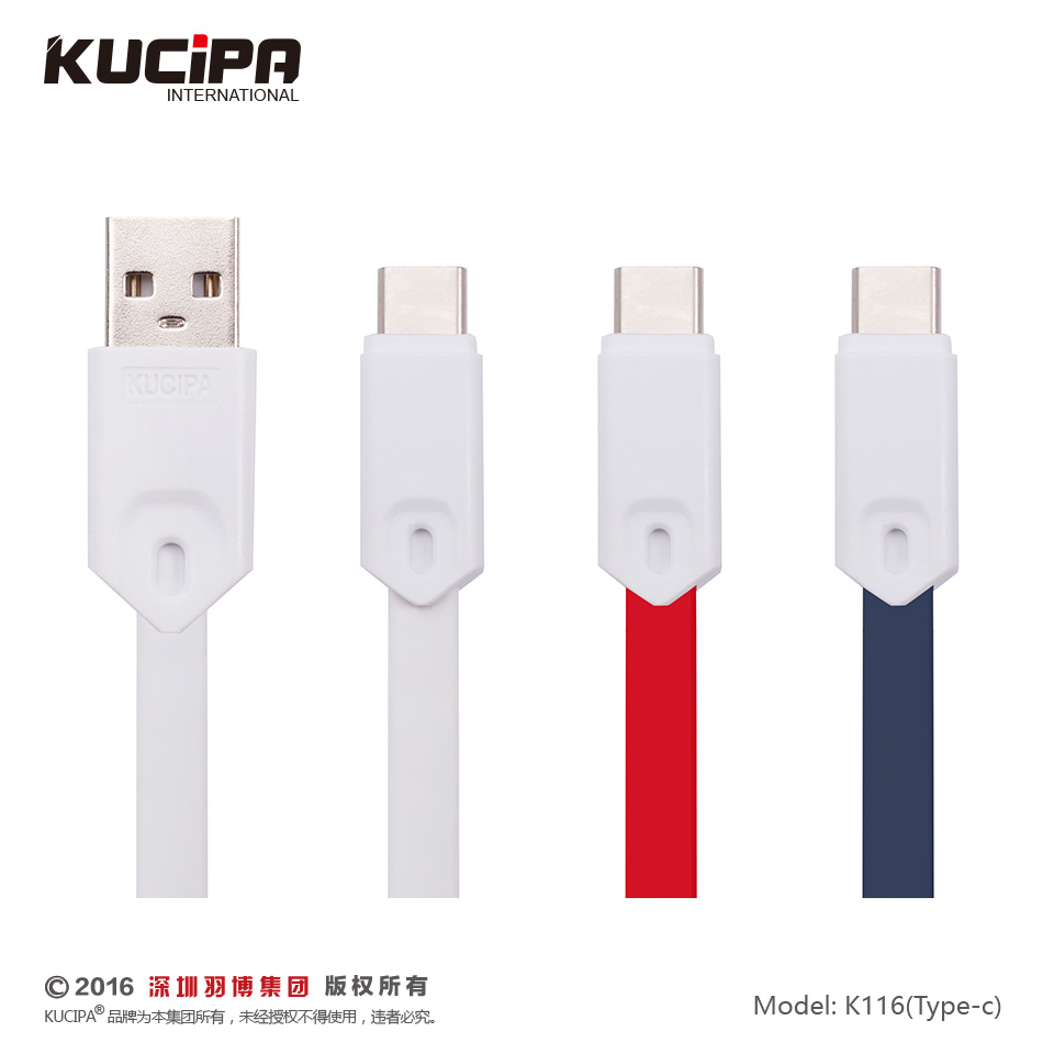 Flat Noodle USB Type C Cable USB C 3.1 Type-C Fast Charging Cable for MX6 ZUK Z1 Z2 Xiaomi 4C Huawei P9 Mate 9 Nexus 5X 6P rock c2 1 8m type c usb charging cable gray