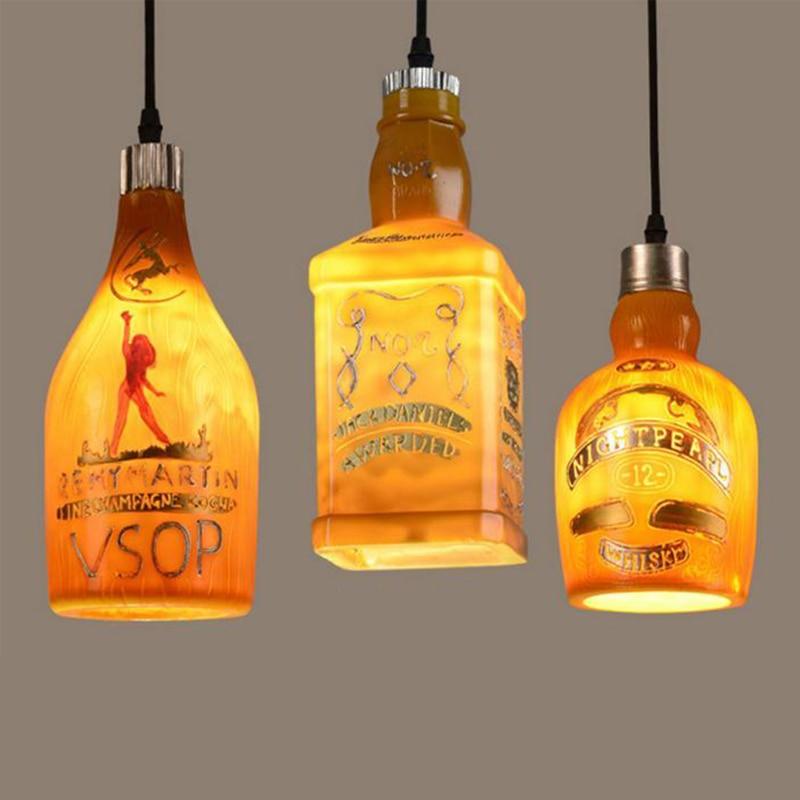 Фотография New Creative simple Russia style LED pendant light lamp wine bottle cafe-room/bar decoration single pendant for home bedroom
