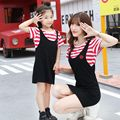 1 Piece Mom And Daughter Dress Family Clothing Mother Daughter Dresses Fake Two Piece Matching Family Look Striped Girl Clothes