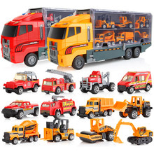 Miniature The Models of Cars Children Van Diecast Tractor Fire Engine Excavator Garbage Truck Ambulance Boys Toys 1:64 Scale(China)