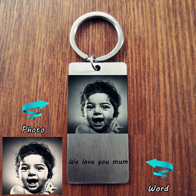 Custom Personal ID Tag Stainless steel Key Chains Engrave Photos Letters Emergen