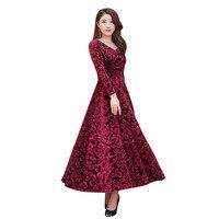 V Neck Gold Velvet Autumn Winter Dress Women Robe Femme Elegant Long Sleeve Dress Plus Size Maxi Long Party Dress Jurken C5012