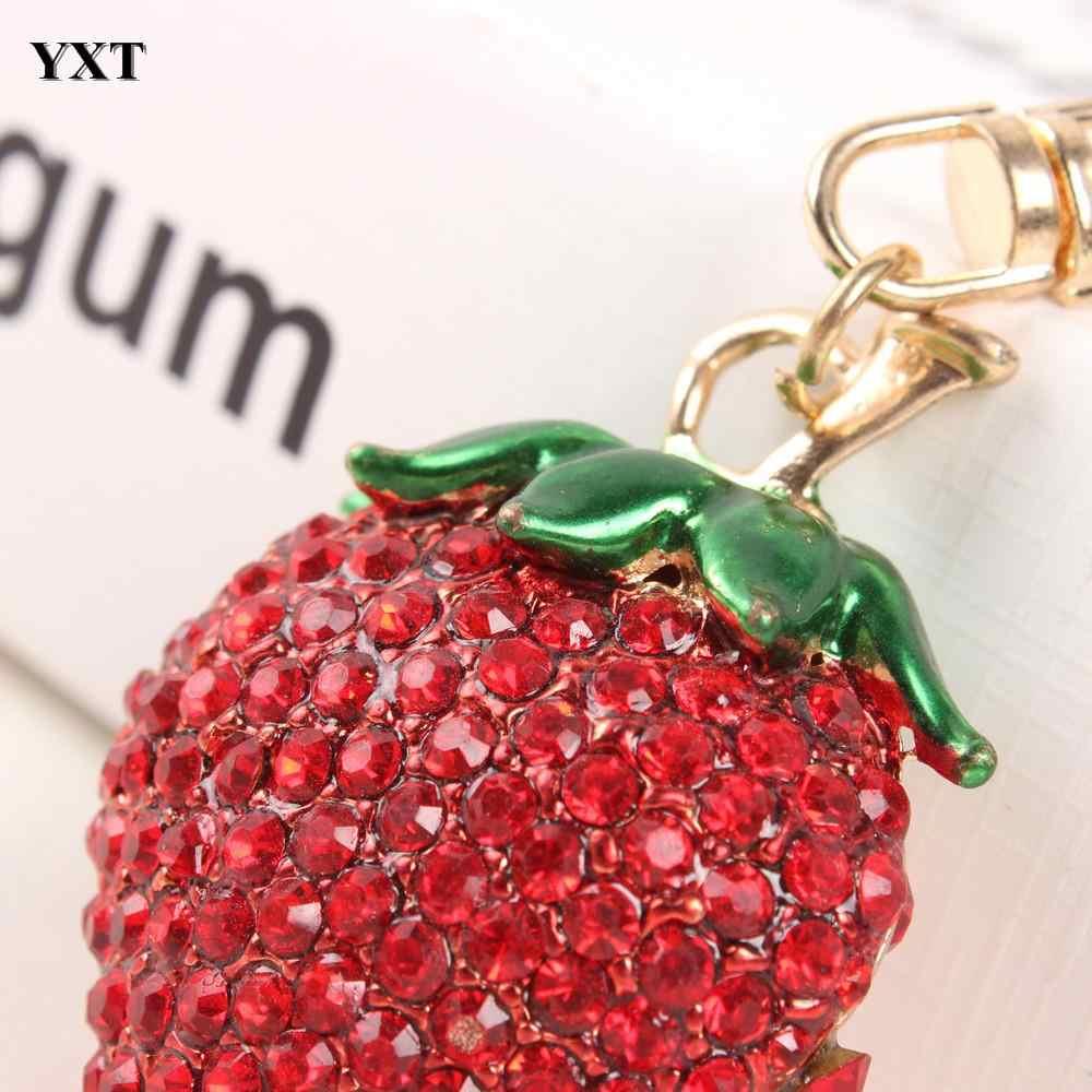 สตรอเบอร์รี่สีแดงน่ารักเสน่ห์จี้คริสตัลกระเป๋ากระเป๋ารถพวงกุญแจเครื่องประดับของขวัญผลไม้ชุด 2015 ใหม่แฟชั่น