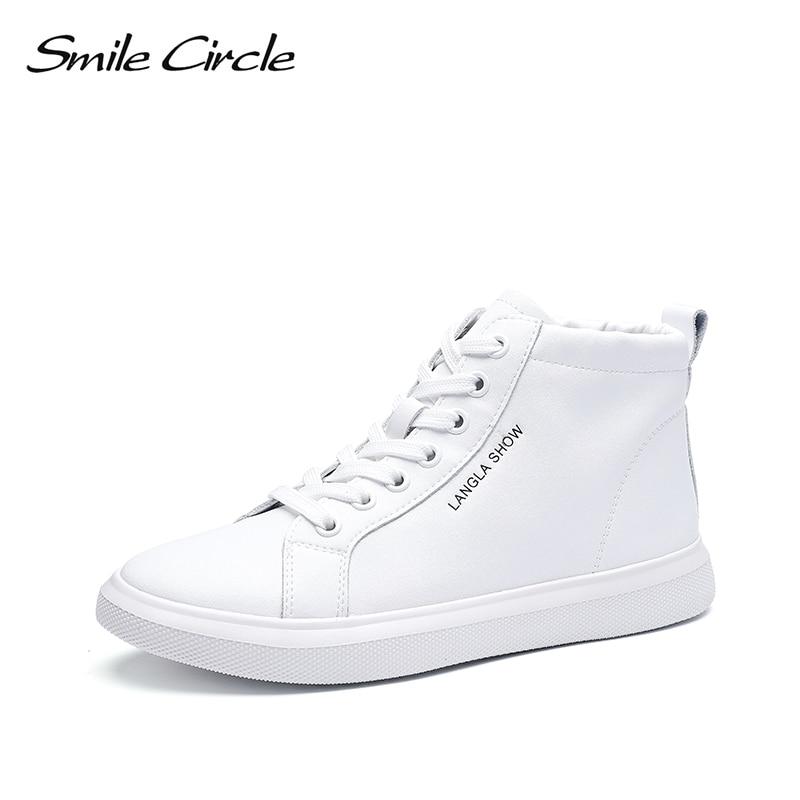 รอยยิ้มวงกลม 2019 ฤดูใบไม้ผลิรองเท้าผ้าใบสีขาวรองเท้าแพลตฟอร์มรองเท้ารองเท้าหนังลำลอง Ladies รองเท้า High top-ใน รองเท้ายางวัลคาไนซ์สำหรับสตรี จาก รองเท้า บน   1