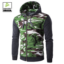2017 Autumn Men's Camouflage Coat Zipper Hooded Casual Jacket Men Brand Clothing Coats Male Rib Sleeve Veste Homme Outerwear 2XL