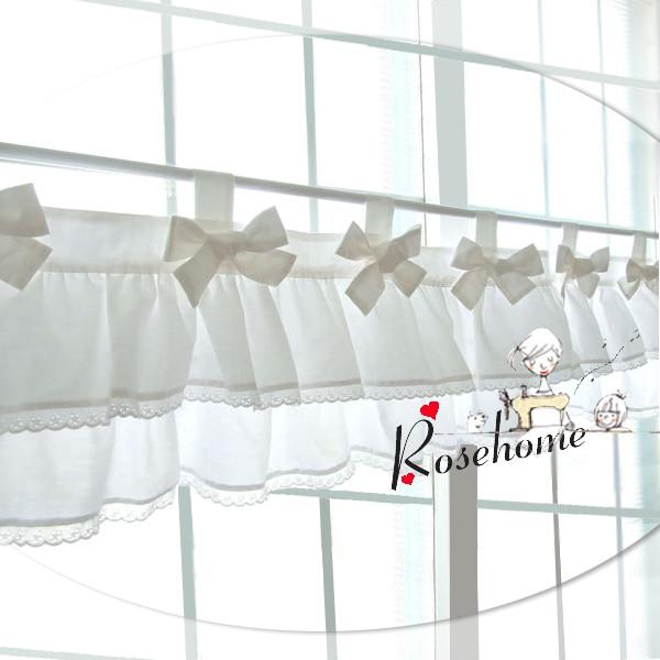 Morden bowknot blanco cocina cortina tela café algodón conjunto de ...