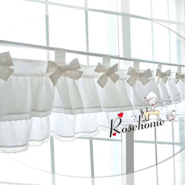 Kitchen Curtain Material: Morden Bowknot White Kitchen Curtain Fabric Lace Coffee