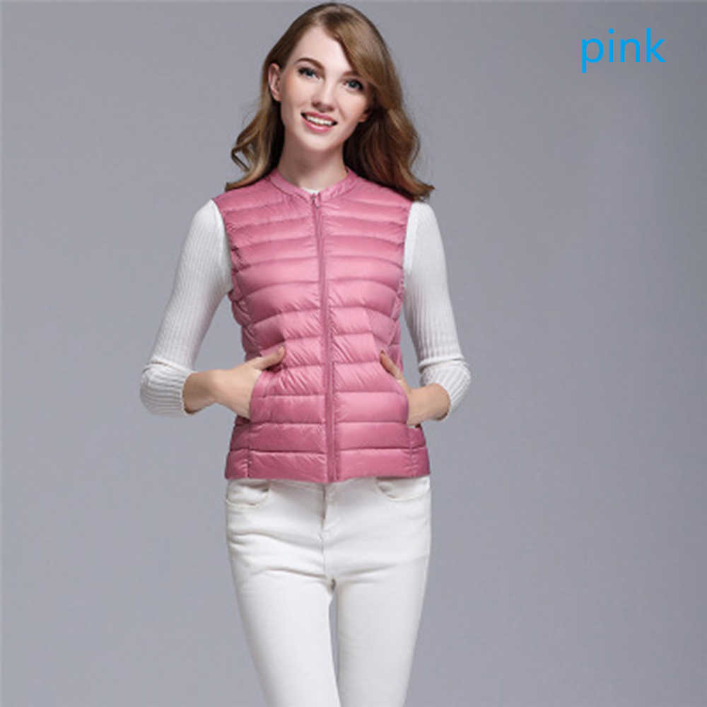 2019 New Women White Duck Down Vest Ultra Light Jacket Autumn Winter Round Collar Sleeveless Coat Plaid Vest Waistcoat Plus Size