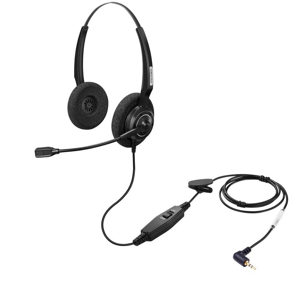 Wantek Arama Cordless Phone Headphones,2.5MM Telephone Headset with Noise Cancelling Boom Mic for Panasonic Dect Phones-Binaural 6