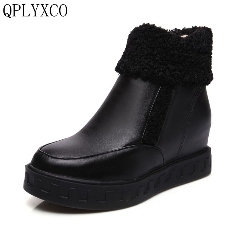 QPLYXCO 2017 Size 34-43 Flat Ankle Boots Woman Fashion Round Toe Shoes Footwear Bota Feminine Warm Fur Winter Snow Botas 9963-5 women round toe thick heel ankle boots woman new fashion platform martin botas winter warm fur footwear shoes size 34 43