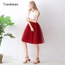 6 Layers Knee Length Wine Red Tulle Skirt Elegant Pleated Skirts Womens Vintage Lolita Tutu Petticoat faldas mujer Saia Jupe