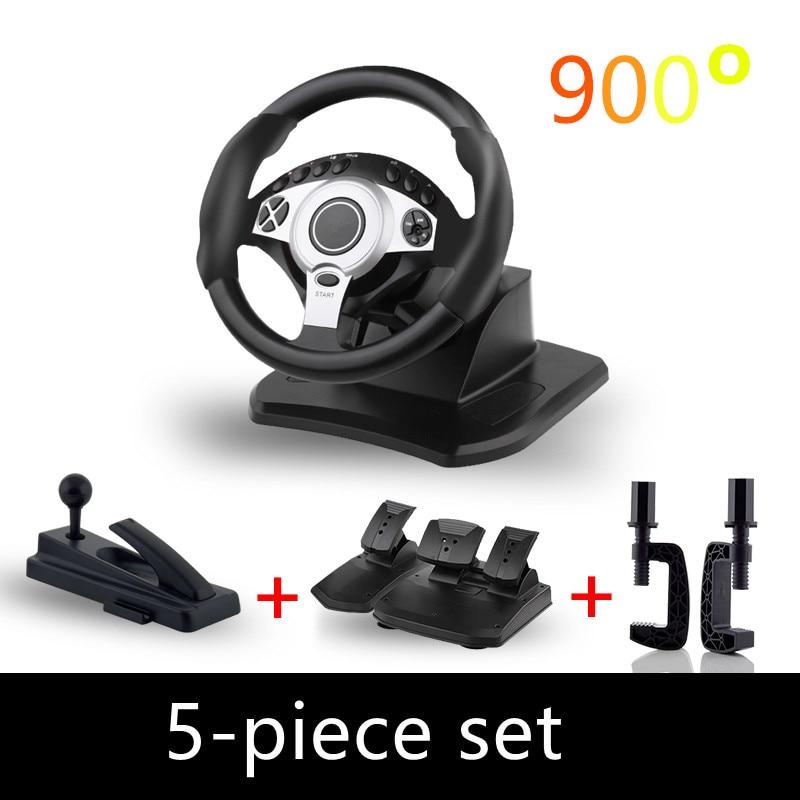 900 degree racing games steering wheel computer learning car simulation driving machine accelerator brake Gear lever full set gear shift