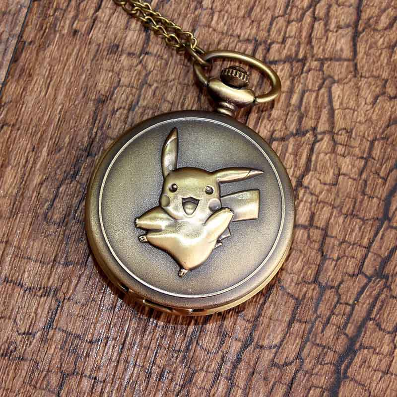 Lovely Pocket Chain Watch Japan Cartoon for Pikachu Pattern Carving Top Watches for Childrens Girls Gift Men Women Ladies Clock