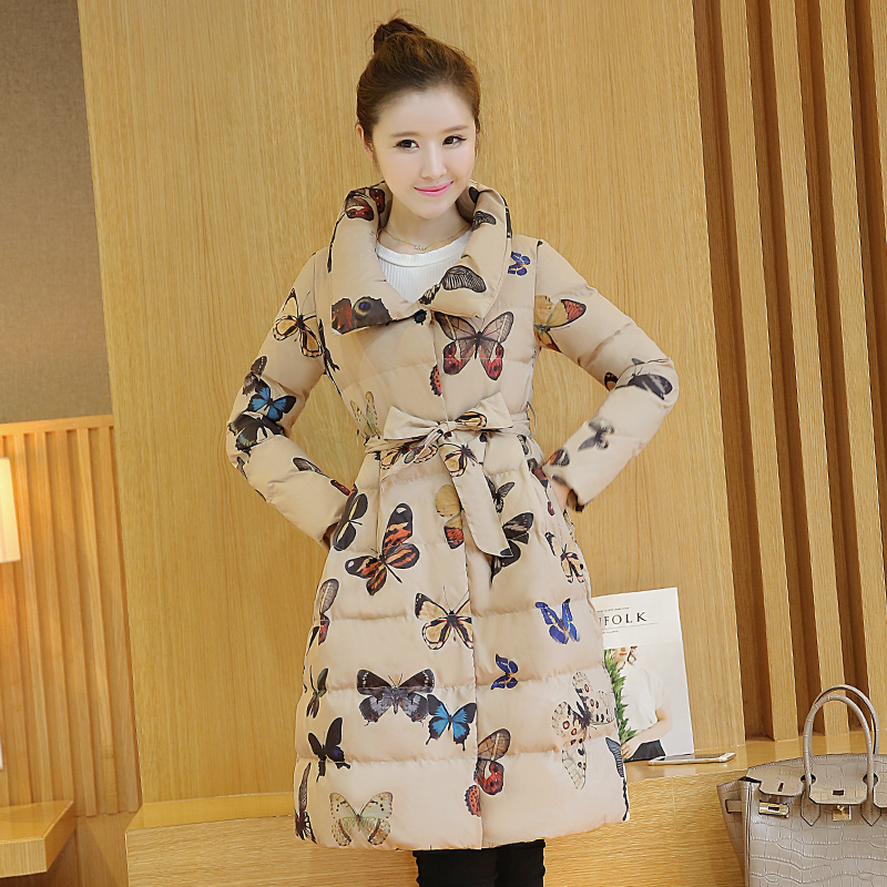 Printed cotton clothing women in the long paragraph 2017 winter new A word cultivating large yards thicker cotton collar