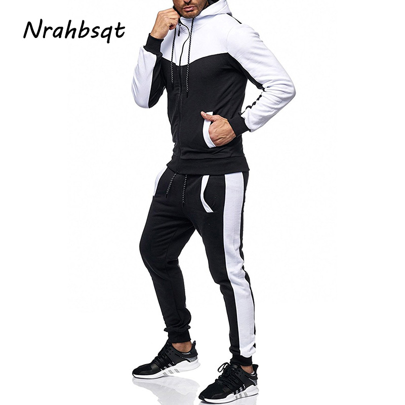 NRAHBSQT Hiver Hommes Casual Sport Ensemble À Manches Longues À Capuche Veste Pantalon Hommes Sport Costume Usure de Remise En Forme de Jogging Costumes Pour Hommes RS029