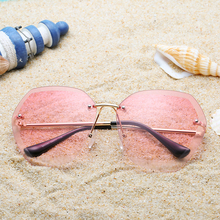 Pink Rimless Sunglasses Women 2019 Luxury Brand Designer Oversized Sunglasses fo