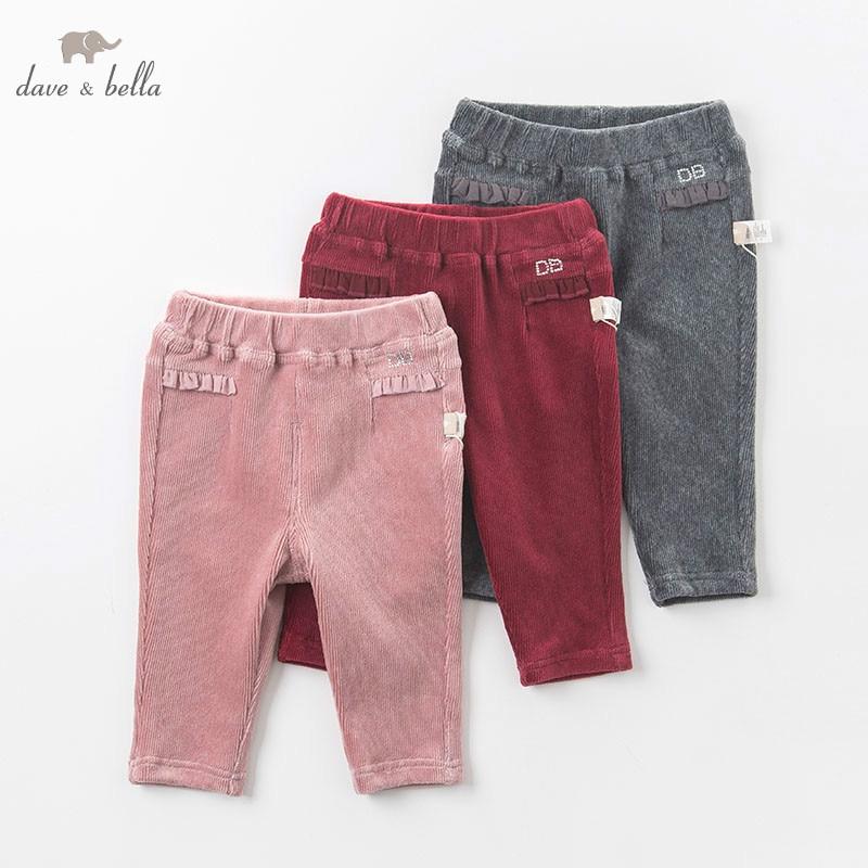 DB6128 dave bella autumn infant baby girls full length fashion print pants children toddler pants girls trousers