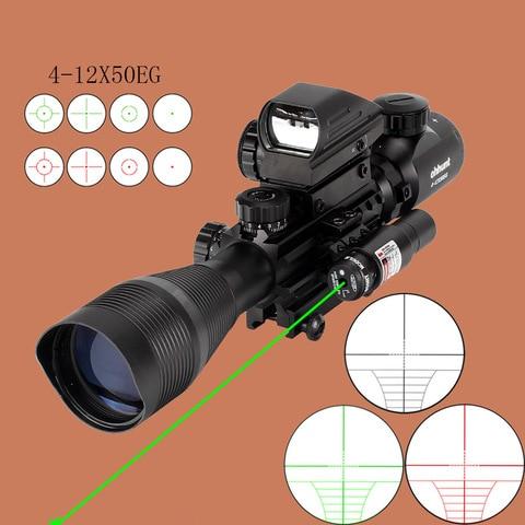 caca airsofts riflescope 4 12x50eg tatico pistola de ar vermelho verde ponto mira laser escopo