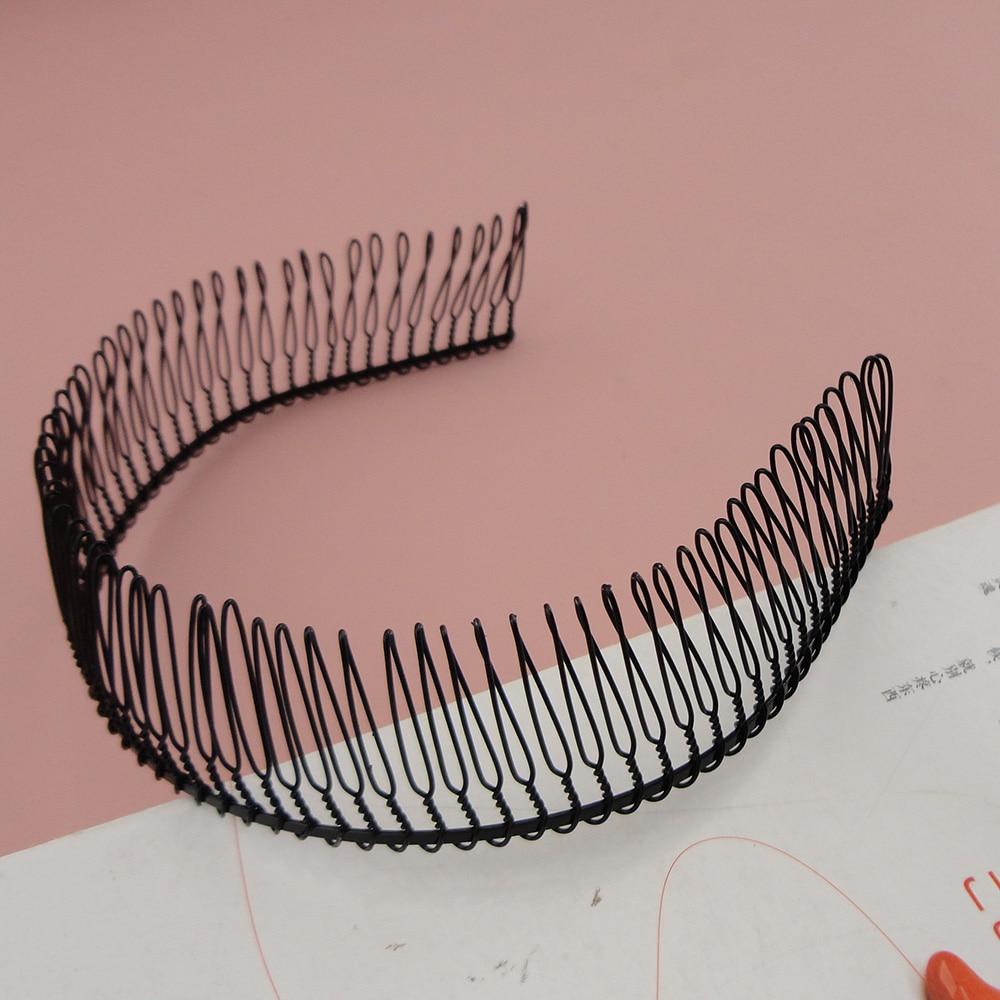 6PCS Black Full dhëmbë Metal Plain Metal Headbands me dhëmbë të lartë, shirita flokësh të lagur për larje fytyre për përbërjen, kurriz gjyshe
