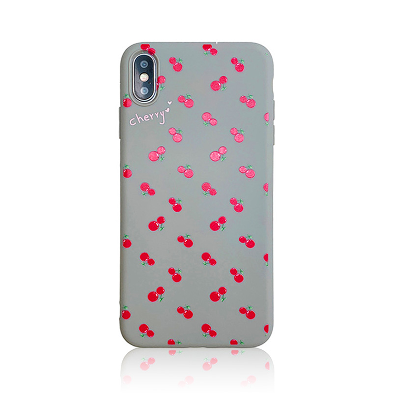KIPX1099_2_JONSNOW Phone Case For iPhone 7 8 Plus 6S 6 Plus XS XR XS Max Cherry Pattern Soft Silicone Case Back Cover Capa Coque Fundas