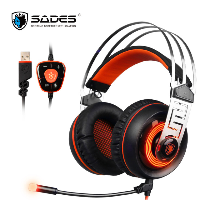 SADES A7 USB Gaming Headset Headphones 7 1 Stereo Surround Sound Game Headphone with Mic For