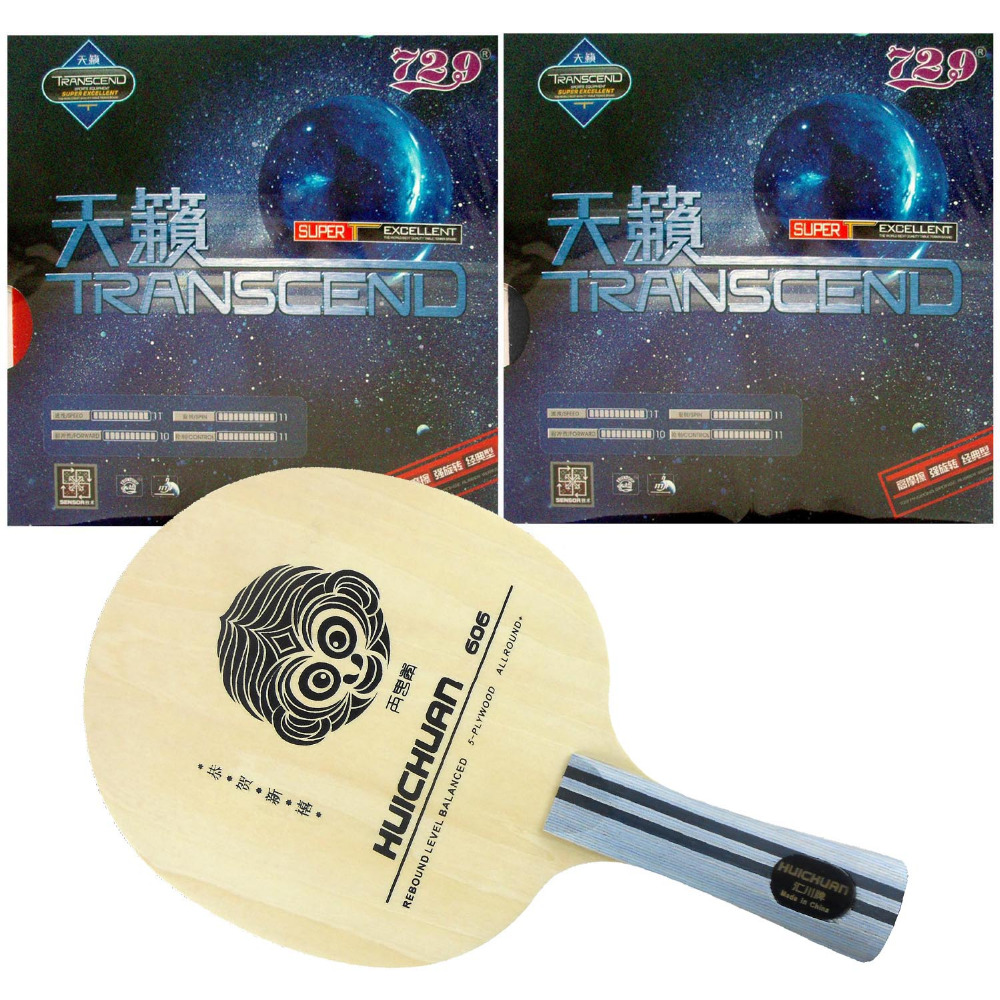 Original Pro Table Tennis Racket Galaxy Yinhe HUICHUAN 606 with 2x RITC 729 Friendship TRANSCEND CREAM Shakehand Long Handle FL