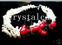 3 Strand Chunky Drop White Pearl Red Coral Black Onyx Choker Collar Necklce Twisted Women