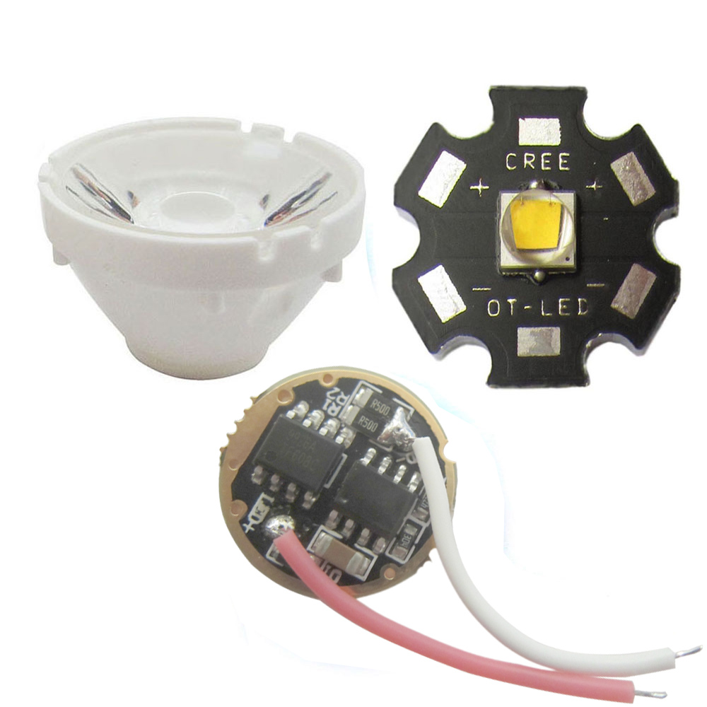 Cree <font><b>10W</b></font> XML L2 / XML T6 Cool White 6500K <font><b>LED</b></font> Light with <font><b>20mm</b></font> Star Base + 5-Modle 3.7V <font><b>Driver</b></font> <font><b>20mm</b></font> + Lens With Holder image