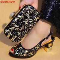 doershow Italian Matching Shoe and Bag Set black Heel Italian Shoe With Matching Bag top Quality Italy Shoe And Bag S! SJU1 18