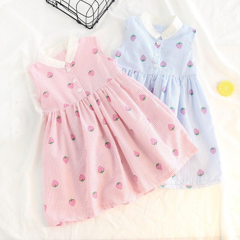 Summer Baby Girls Kids Sleeveless Printed Strawberry Striped Party Princess Infants Tutu Pleated Dress Vestidos S6839