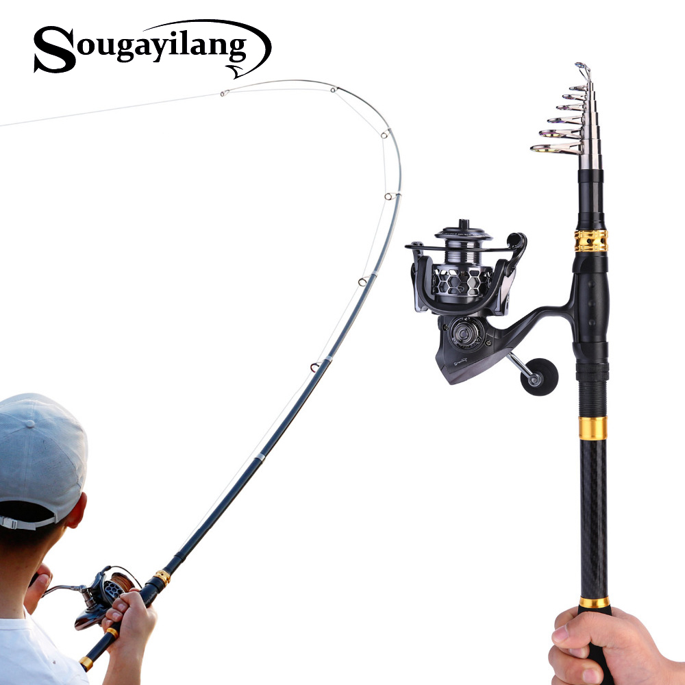 Sougayilang 1 8 3 3m Telescopic Fishing Rod and 14BB Spinning Fishing Reel With Free Coil