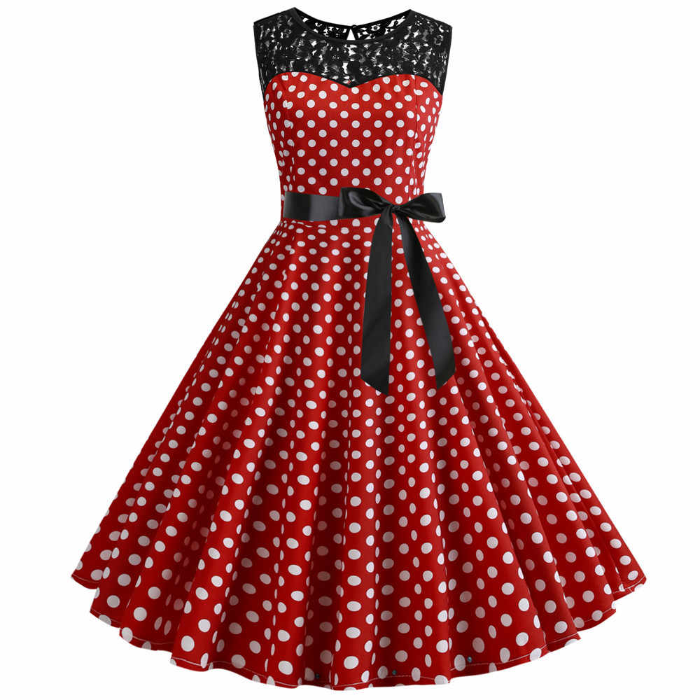 2019 Summer Women Lace Vintage Dress Red Polka Dot Swing Retro Robe Party Dresses 50s 60s Rockabilly Pin Up Dress Vestidos