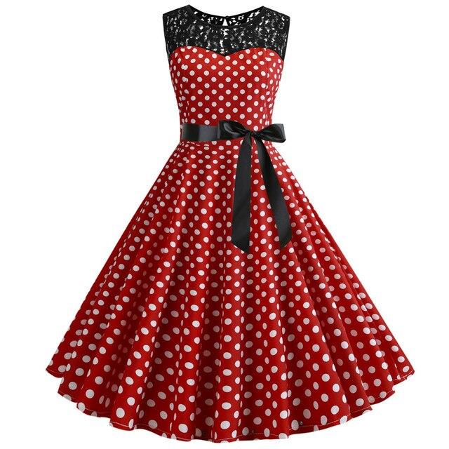 2019 Summer Women Lace Vintage Dress Red Polka Dot Swing Retro Robe Party Dresses 50s 60s Rockabilly Pin Up Dress Vestidos