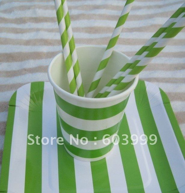 Retro Vintage Birthday Party Supplies STRIPEY STRIPED PARTY TABLEWARE Lime Candy Stripe Square Party Paper Plates : candy themed paper plates - pezcame.com