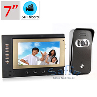 Auto recording 7 inch video door phone 700tvl color camera intercom two way talk doorphone system