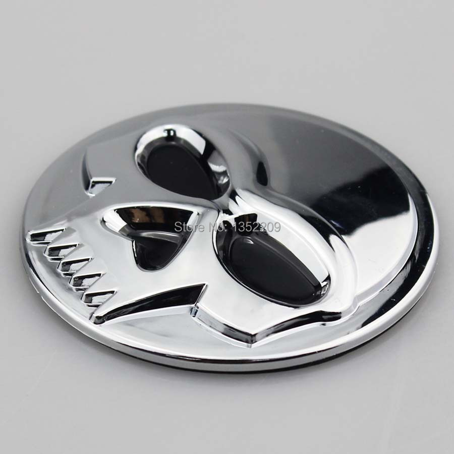 Free Shipping 1pair Chrome 3d Skull Abs Stickers Emblem Badge Decal