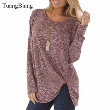 Hot Women clothing Loose O Neck tshirt long Sleeve Solid color twist T