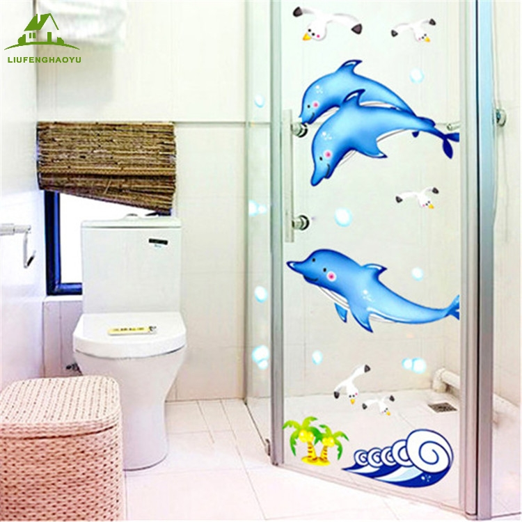 Fundecor Diy Home Decor Animals Dolphin Wall Stickers For Children Room Bathroom Pvc Autocollant