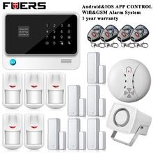 Ruso/Español/Inglés/Francés/Holandés versión IOS Inalámbrica Wifi Pantalla Táctil Sistema de Alarma GSM Seguridad Para el Hogar Android APP Control