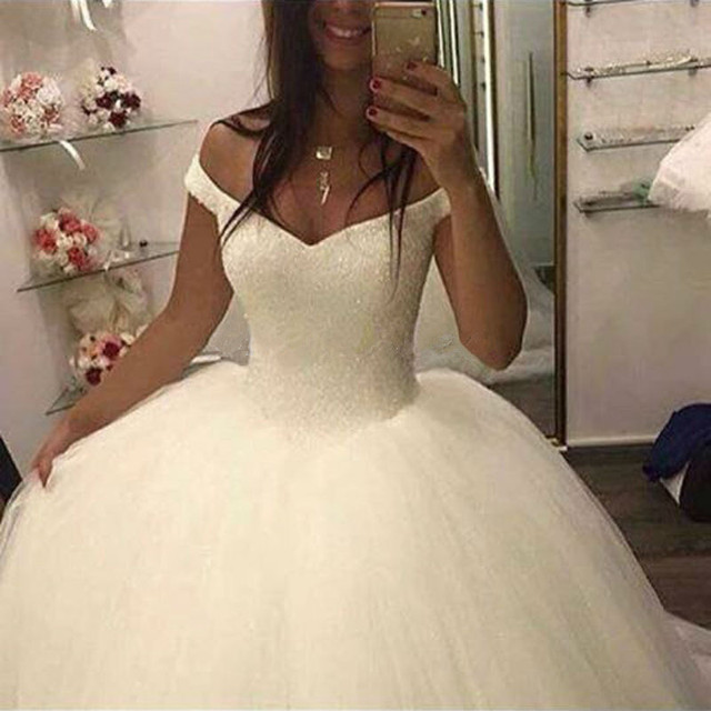 2020 New Bling Bling Ball Gown Wedding Dress Off the Shoulder Bridal Wedding Gowns