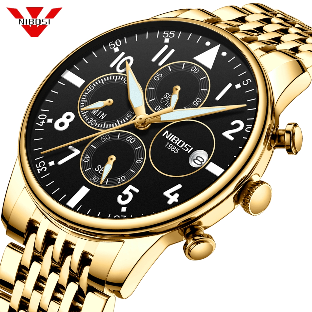 NIBOSI Men's Watches Military Luxury Brand Watch Mens Quartz Stainless Clock Fashion Chronograph Watch Man Relogio Masculino